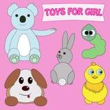 Игрушки для девушки установленной на розовую предпосылку Иллюстрация вектора стиля шаржа Newborn ребёнок, маленькая принцесса Стоковые Изображения RF