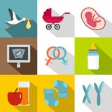 Newborn accessories icon set, flat style. Newborn accessories icon set. Flat style set of 9 newborn accessories vector icons for web design Royalty Free Stock Images