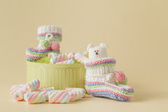 Newborn announcement concept. Knitted booties Stock Photography