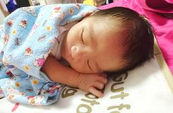 Newborn asleep Stock Photography
