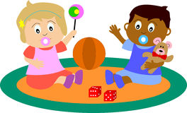Newborn Babies Playing. A couple of multiculture newborn babies playing on a carpet. You can find many other illustrations of kids in my portfolio. Eps file Royalty Free Stock Images