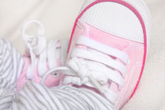 Newborn babies trainers or sneakers Royalty Free Stock Images