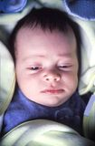Newborn baby in bed Royalty Free Stock Photography
