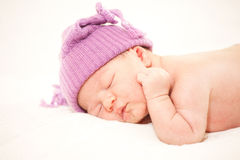 Sleeping  newborn baby (at the age of 14 days) Royalty Free Stock Photos