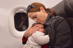 Newborn Baby air travel Royalty Free Stock Images