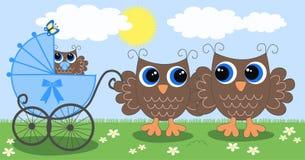 Newborn baby announcement. A owl family with a newborn baby boy Stock Photos