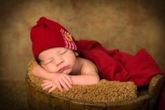 Newborn baby in antique bucket Stock Photos
