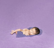 Newborn baby asleep on a purple blanket Stock Photography