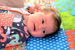 Newborn baby awake Stock Photography