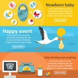 Newborn baby banner horizontal set, flat style Stock Image
