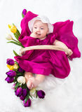 Newborn baby in basket Royalty Free Stock Photos