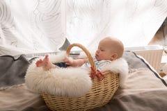 Newborn baby in the basket Stock Photos