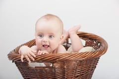Newborn baby in basket Royalty Free Stock Photos