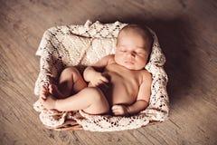 Newborn baby in the basket. Cute newborn baby sleeping in the basket Stock Photography