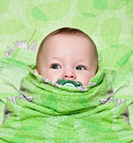 Newborn baby in a blanket Stock Photo