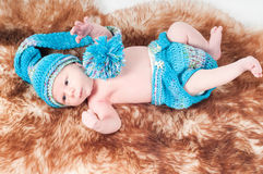 Newborn baby in blue Royalty Free Stock Photography