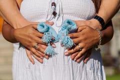 Newborn Baby Blue Booties Royalty Free Stock Photos