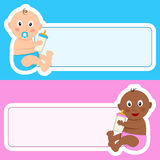 Newborn with Baby Bottle & Blank Banner Stock Photos