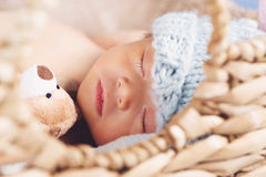 Newborn baby boy in a basket. Newborn infant baby boy sleeping in a little basket stock photo