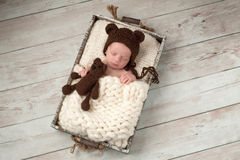 Newborn Baby Boy with Bear Hat and Plush Bear Toy. Two week old newborn baby boy wearing a brown, crocheted, bear bonnet and holding a matching Teddy Bear. He is royalty free stock photography
