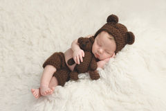 Newborn Baby Boy with Bear Hat and Toy Royalty Free Stock Photos