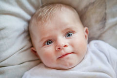 Newborn baby boy with blue eyes Stock Photo