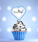 Newborn Baby Boy card message on a delicious cupcake Stock Image