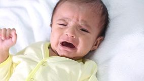 Newborn baby boy crying stock video footage