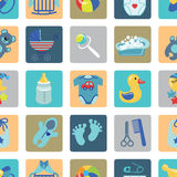 Newborn Baby boy icons in seamless pattern Stock Photography