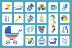 Newborn Baby boy icons set.Baby shower Royalty Free Stock Photos