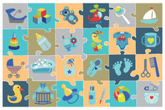 Newborn Baby boy icons set.Baby shower Puzzle Royalty Free Stock Image