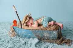 Free Newborn Baby Boy In Fisherman Outfit Stock Image - 62842871
