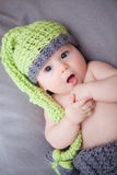 Newborn baby boy with knitted hat Royalty Free Stock Image