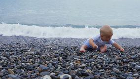 Newborn baby boy plays at the windy seaside with stones. Toddler plays at the windy seaside stock video footage