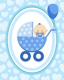 Newborn baby, boy, postcard, Asia, blue hearts, vector. A little boy in a blue stroller. A blue ball is tied to the stroller. Color, flat card. Congratulation Stock Images