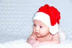 Newborn baby boy Santa Claus. Stock Images