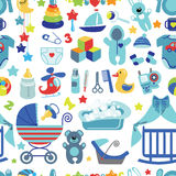 Newborn Baby boy seamless pattern Royalty Free Stock Images