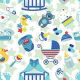 Newborn Baby boy seamless pattern Stock Photos