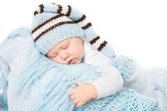 Newborn Baby Boy Sleep in Blue Hat, Sleeping New Born Child royalty free stock photos