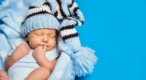 Newborn Baby Boy Sleep Over Blue, Sleeping New Born Child stock images