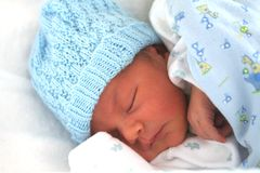 Newborn Baby Boy Sleeping Royalty Free Stock Images