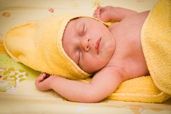 Newborn baby boy sleeping Royalty Free Stock Photo