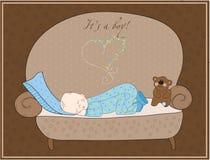 Newborn Baby Boy Sleeping Card Stock Images