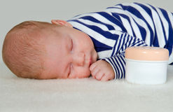 Newborn Baby Boy Sleeping Peacefully Stock Photos