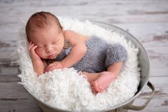 Newborn baby boy, sleeping peacefully in basket, dressed in knit Stock Photo