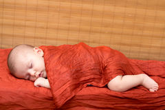 Newborn baby boy sleeping Royalty Free Stock Photo