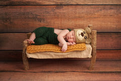 Newborn Baby Boy in a Teddy Bear Costume Stock Photos