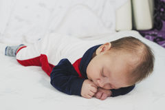Newborn baby boy two months old sleeping Stock Photo