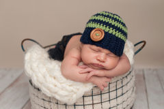 Newborn Baby Boy Wearing a Beanie Cap Royalty Free Stock Photo
