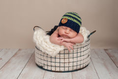 Newborn Baby Boy Wearing a Beanie Cap Stock Photo